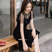 美之札[98681-QF]性感鏤空網紗修飾手臂中長款連身裙洋裝