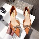 2020新款高跟鞋女細跟性感法式涼鞋尖頭淺口水鉆中空單鞋 LF6450【極致男人】