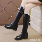 靴子女大尺碼秋款中筒靴時尚百搭ins潮女靴黑色單靴子不過膝長筒靴 qf31261【MG大尺碼】