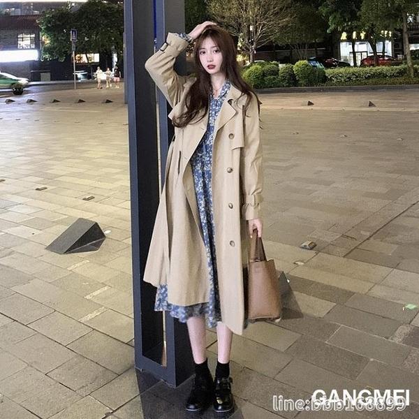 風衣外套 秋季工裝風衣新款女中長款小個子春秋氣質韓版寬鬆卡其色外套 城市科技
