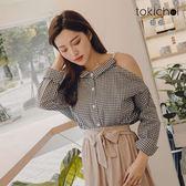 東京著衣-氣質甜甜串珠肩帶露肩格紋襯衫(181632)