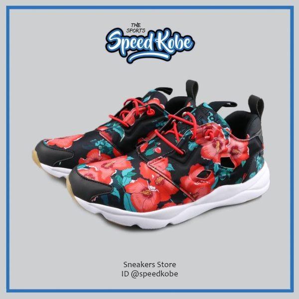 REEBOK 復古慢跑鞋 Furylite 黑紅 紅花 滿版 花朵 女 BD1099【SP】