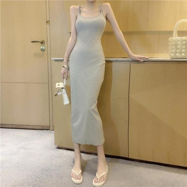 細肩帶洋裝 韓版女裝性感小心機露背吊帶裙開叉中長款包臀連衣裙 - 風尚3C
