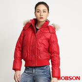 BOBSON 女款抽皺羽毛外套(紅31112-13)