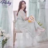 洋裝 露肩平口花朵蕾絲五分袖長禮服洋裝-Ruby s 露比午茶