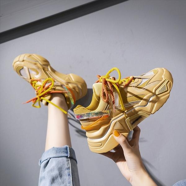 橘色老爹鞋女潮2020新款夏季網面透氣百搭網紅超火休閒運動鞋 韓語空間