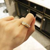 戒指 18K玫瑰金歐美韓國時尚百搭簡約閃亮方鉆單排鉆戒指 巴黎春天