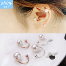 【27A60】shiny藍格子-美搭單品 .簡約單顆珍珠耳骨夾假耳洞耳環