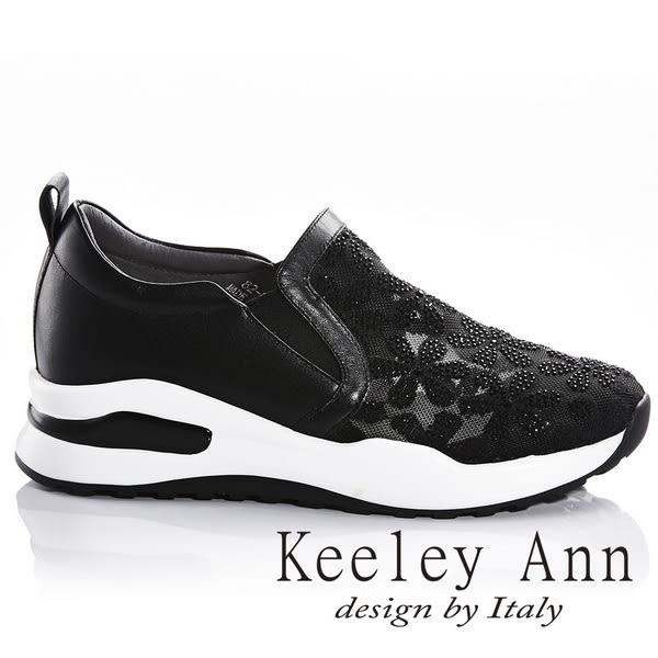 ★2018春夏★Keeley Ann氣質甜美~水鑽花瓣透膚真皮軟墊休閒鞋(黑色) -Ann系列