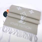【雪曼國際精品】LV M70462 REYKJAVI系列Monogram花紋喀什米爾羊毛圍巾(灰樹色)二手(8.8成新)