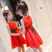 女童夏季連身裙2018新款中大童兒童無袖女孩雪紡夏裙背心裙公主裙 至簡元素