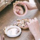 鏡子 華麗復古風立體蝴蝶結站立圓鏡-Ru...