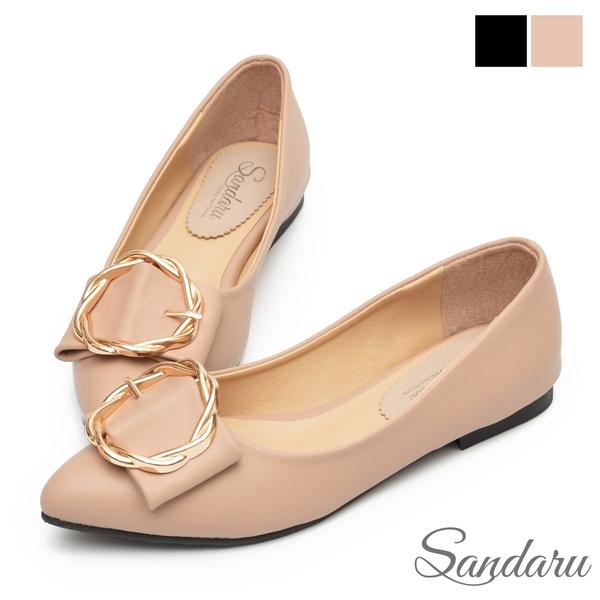 娃娃鞋 優雅金色圓環尖頭平底鞋-奶茶