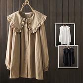 *ORead*日系純色花邊娃娃領寬鬆中長款長袖襯衫(3色F碼)