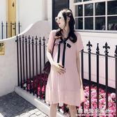 孕婦夏裝雪紡連身裙時尚款2018新款夏季短袖裙子中長款寬鬆春裝潮