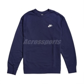 Nike 長袖T恤 NSW Club Crew 藍 白 男款 大學T 運動休閒 【PUMP306】 BV2667-410