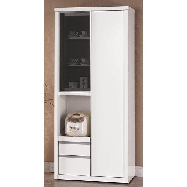 【森可家居】卡洛琳6尺高拉門收納櫃 8CM925-1 白色 餐櫃 廚房櫃 碗盤碟櫃 北歐風