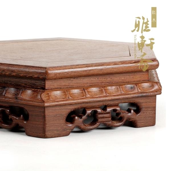 雞翅木質底座 實木制奇石石頭花盆架子 紅木小花架工藝品擺件木托