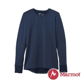 【Marmot】女 Polartec 圓領防曬抑味彈性長袖排汗衣『靛青藍』82170 戶外 露營 保暖 禦寒 防風 上衣