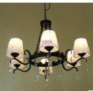 設計師美術精品館中式古典歐式復古客廳餐廳燈臥室地中海水韓式晶燈6頭布罩吊燈