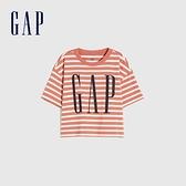 Gap女童 Logo條紋圓領短袖T恤 684030-橙色條紋