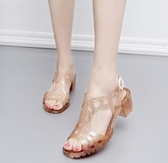 魚嘴鞋-夏復古水晶閃亮粗跟中跟塑料露趾羅馬涼鞋魚嘴防滑沙灘鞋女潮 多莉絲旗艦店
