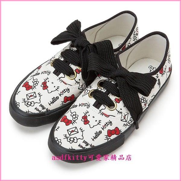 asdfkitty可愛家☆KITTY帆布鞋 休閒鞋 短筒鞋-日本正版商品