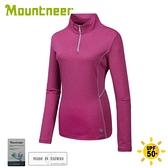 【Mountneer 山林 女 排汗長袖上衣《深桃紅》】41P02/保暖衣/中層衣/休閒長袖