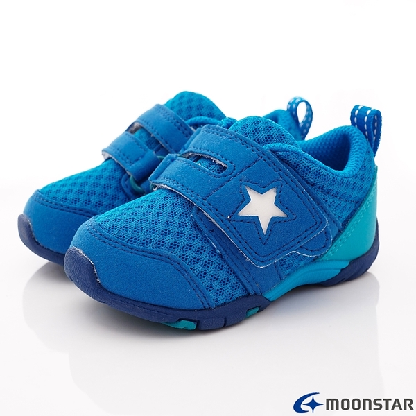 日本Moonstar機能童鞋 後套穩定抗菌款 887水藍(寶寶段)