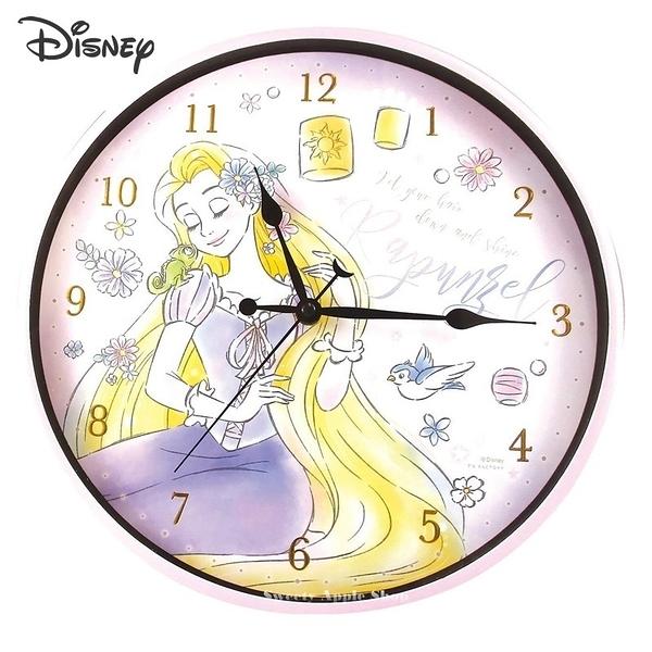 日本限定 迪士尼公主系列 魔髮奇緣 長髮公主 樂佩 連續秒針 壁掛時鐘 / 掛鐘