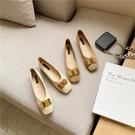 平底鞋 單鞋女秋季新款米奇扣俏皮減齡款四季鞋粗跟軟面平底鞋 交換禮物
