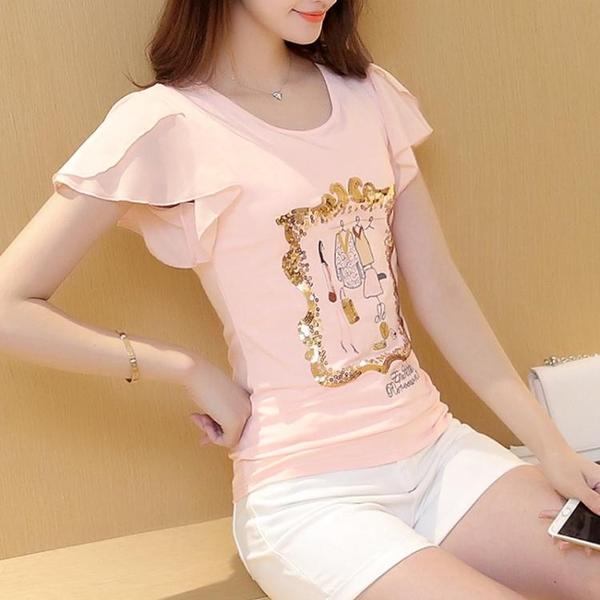 新款短袖T恤女夏裝飛袖圓領緊身體恤雪紡袖小衫心機上衣韓版衣服