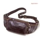 真皮腰包。男士簡約頭層牛皮2way隨身腰包斜背包手機包 (SBA0361) AngelNaNa