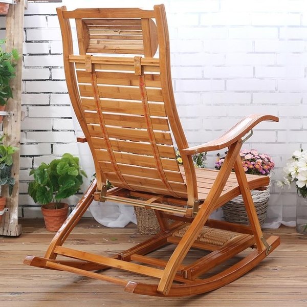 折疊躺椅成年人竹搖椅家用午睡椅涼椅老人休閒逍遙椅實木靠背椅【618店長推薦】