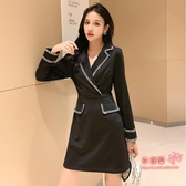 OL洋裝 2020秋季新款女裝通勤ol氣質縮腰黑色長袖職業連身裙工作服 S-XL