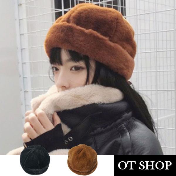 OT SHOP帽子‧質感羊毛絨毛‧水手帽瓜皮帽冷帽毛帽‧韓系中性文青嘻哈穿搭配件‧現貨2色‧C1912