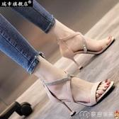 細跟高跟鞋羅馬涼鞋女交叉綁帶夏季新款歐美性感黑色絨面細跟高跟鞋夜店 【快速出貨】