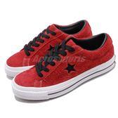 Converse One Star 紅 黑 麂皮 基本款 男鞋 女鞋 滑板鞋 休閒鞋【PUMP306】 163246C