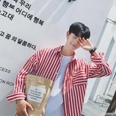 襯衫港風bf條紋襯衫男士韓版潮流寬鬆襯衣長袖青少年學生衣服(快速出貨)