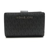 MICHAEL KORS 黑色牛皮Logo 釦式拉鍊中夾Wallet 【二手名牌BRAND OFF】