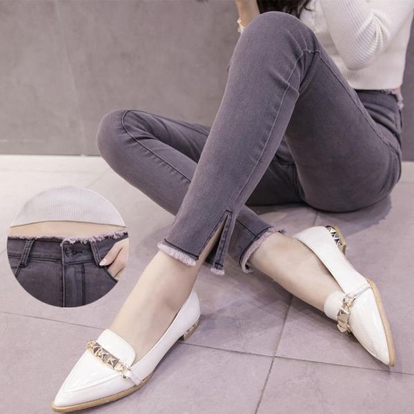 煙灰色牛仔褲女九分褲 高腰毛邊顯瘦小腳褲 春季破洞開叉鉛筆長褲 西城故事
