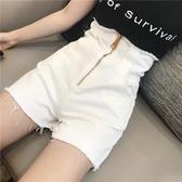 快速出貨 2019春裝新款韓版時尚百搭修身黑色牛仔短褲高腰拉鏈顯瘦熱褲女潮