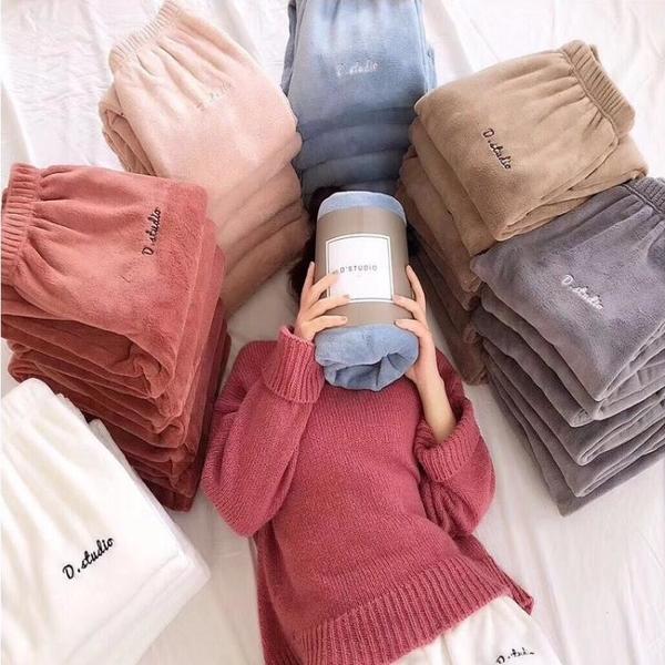 秋冬季仙女暖暖褲子女韓版保暖珊瑚絨休閒寬鬆睡褲居家懶人褲加厚 韓國時尚週