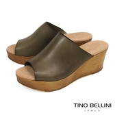 Tino Bellini 西班牙進口極簡質感原色真皮楔型涼拖鞋_ 墨綠 A73022B 歐洲進口款