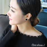 18K玫瑰金鈦鋼四葉草耳釘女氣質韓國個性簡約黑色ins耳環耳飾父親節促銷