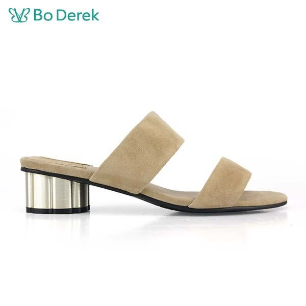 【Bo Derek 】絨料寬帶低跟涼拖鞋-杏色