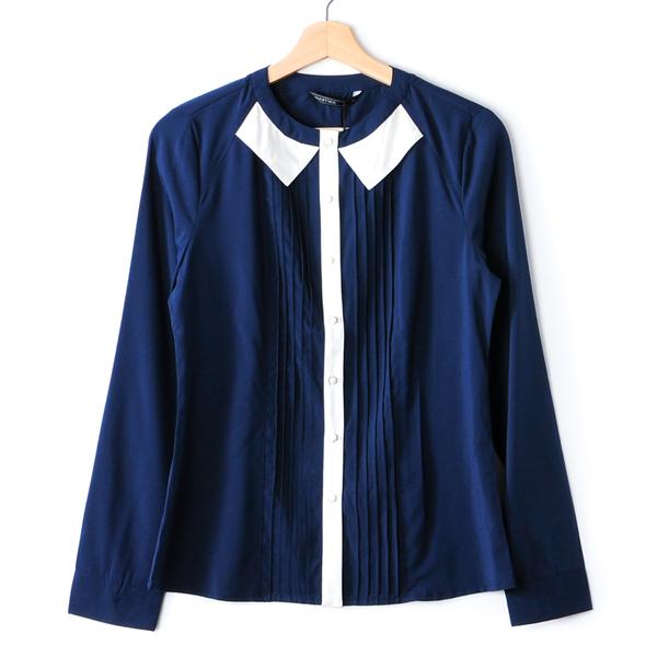 【MASTINA】壓褶拼色長袖襯衫-深藍 秋冬嚴選