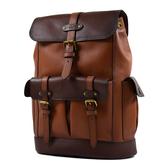 美國正品 COACH 男款 荔枝紋真皮配色翻蓋書包釦束口後背包-棕色/咖啡色【現貨】