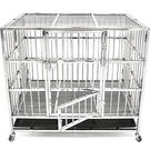 白鐵不銹鋼狗籠XL(餵食小門+上掀天窗+移動輪)不鏽鋼貓籠子.收納折疊鐵籠寵物箱.推薦哪裡買ptt