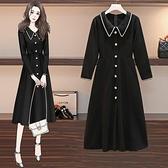 洋裝連身裙中大尺碼M-4XL新款氣質中長款胖mm顯瘦法式長裙R21-9963.胖胖唯依